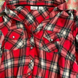 Cato Red Plaid shirt with diamond buttons